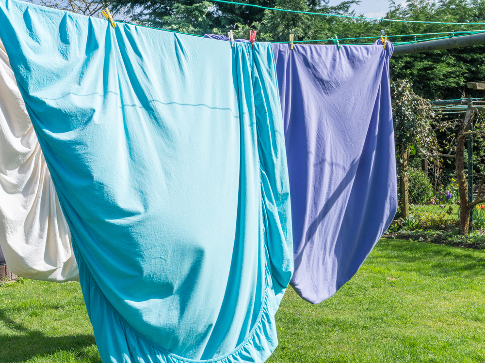 sheets drying on best rotary washing line