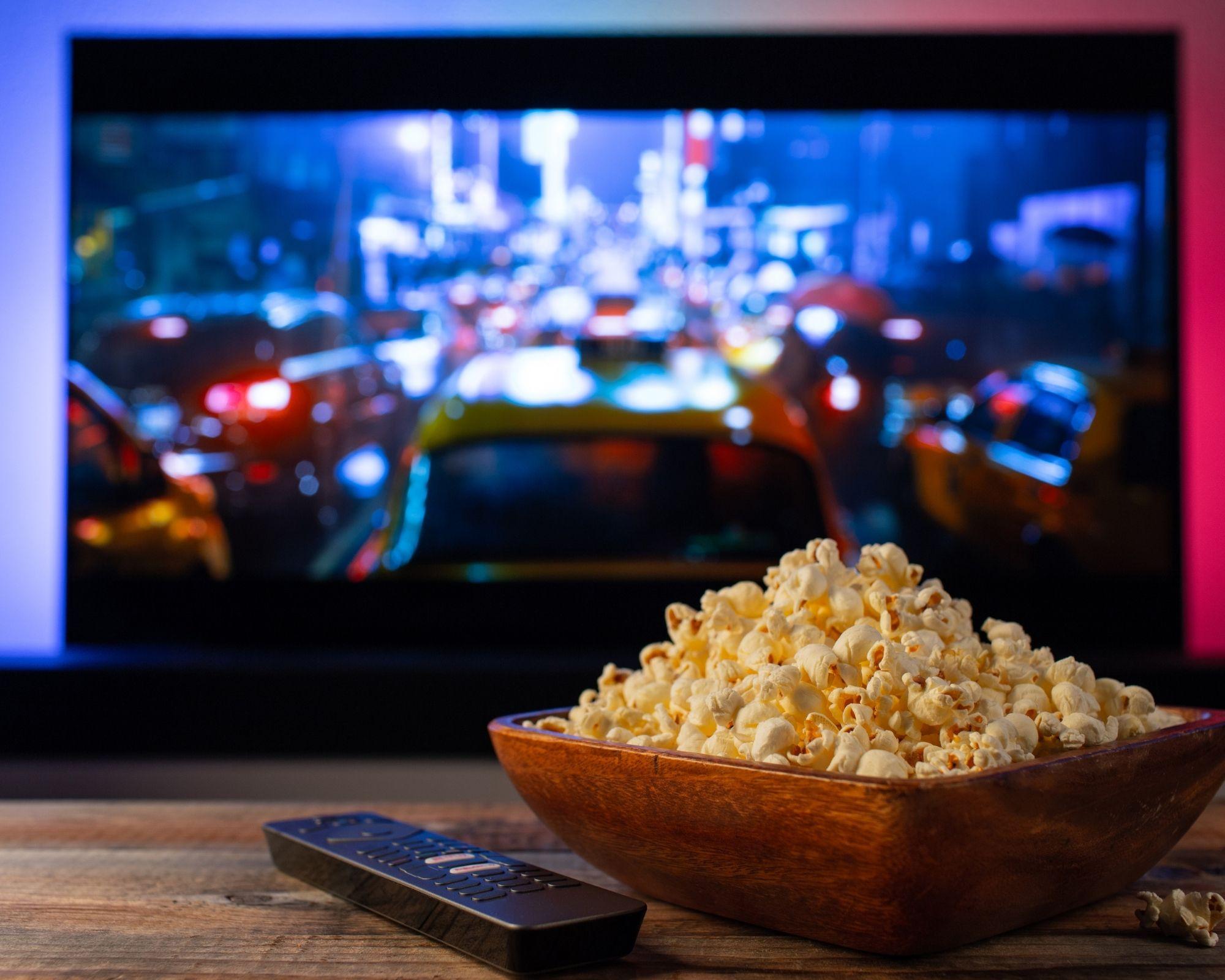 popcorn in front of best freesat box
